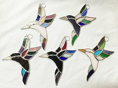 Lot of 5 Stained Glass  HUMMINGBIRDS  !  - HANDMADE Suncatcher  Ornament !