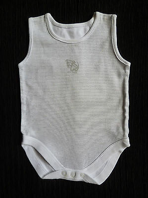 Baby clothes BOY GIRL 9-12m NEXT grey/white stripe bodysuit sleeveless SEE SHOP!
