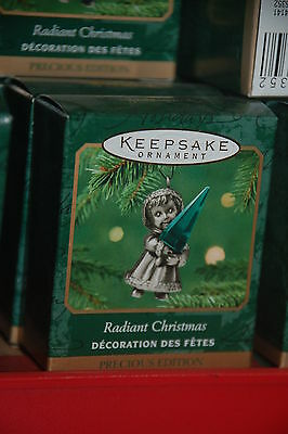 Hallmark 2001 Radiant Christmas Angel with Green Crystal Miniature MINI Ornament