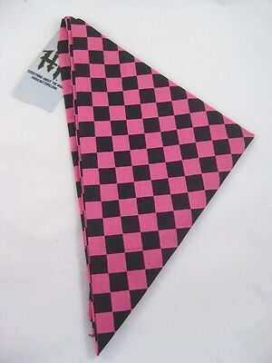 "12 New Wholesale 22"" Square Pink & Black Checkered Bandanas #H0116"