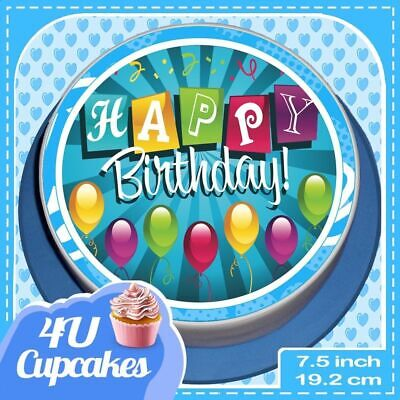 Precut Large Birthday Blue 7.5 Inch Round Edible Rice Paper Cake Topper Ccha015