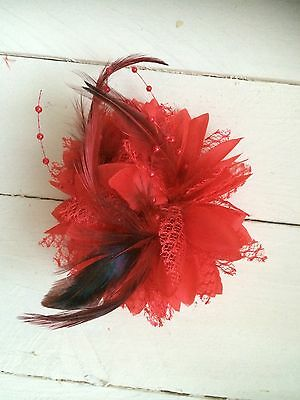 Red Feather Fascinator Clip Ladies Day Races Party Wedding