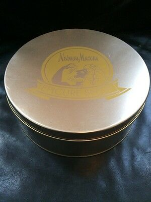 "Vintage Steel Neiman Marcus Epicure Shop Tin Gold 10"" Diameter Advertising"
