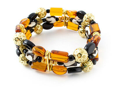 Three Strand Bracelet - Glass Bone Beads African [Fair Trade Product]