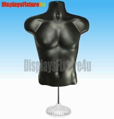 1 Mannequin +1 Stand 1 Hook, Male Black Dress Body Torso Form - Display Clothing