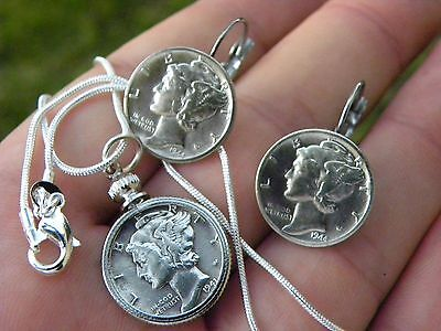 Earrings Necklace set silver Mercury dime coins readable dates sterling steel