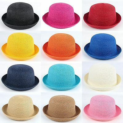 Women Adults Kids Children Girls Bowler Cap Derby Hat Bucket Cloche Straw  Sunhat fd04ae6ad8b8