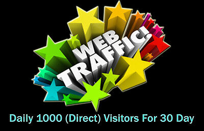 Daily 1000 Direct Worldwide Traffic (adsense safe) For 30 Days package.