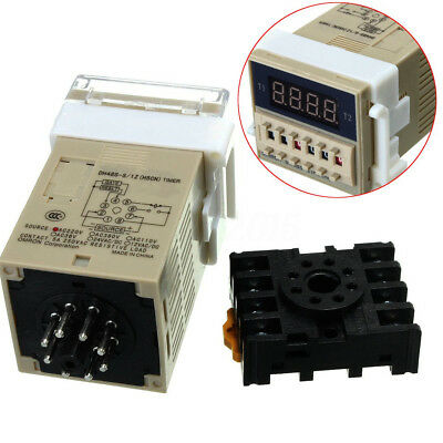 AC 220V 5A Programmable Double Time Timer Delay Relay Device Tool DH48S-S