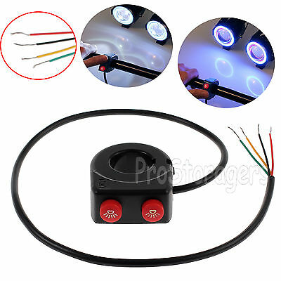 """2 In 1 Motorcycle 7/8"""" Handlebar Kill Stop Button Switch ON/OFF Dirt PIT Light"""