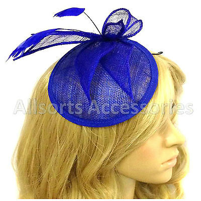 Royal Blue Feather Comb Fascinator Ladies Day Royal Ascot Weddings Races