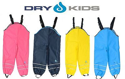 Dry Kids Childrens Waterproof Trousers Dungarees Unlined Boys & Girls 2 - 12yrs