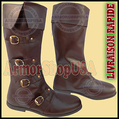 Adulte Cuir Médiéval Bottes Deluxe Chaussure Pirate Boot Costume Robe Fantaisie