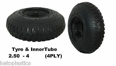 Tyre With Inner Tube 2.50 - 4 Sack Truck Trolley Bent Valve (4 PLY) 220 x 65
