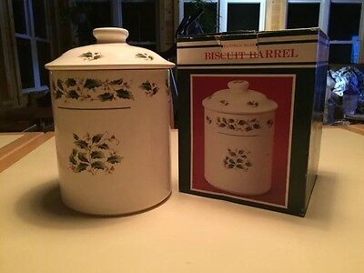 Fine China Of Japan Christmas Holly & Berry Earthen Ware Biscuit Barrel Canister