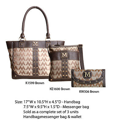 Women's Brown Designer Tote w Messenger Bag w Clutch Purse - Handbag Wallet Set