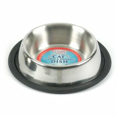 """Classic Stainless Steel Non-Tip Cat Bowl 6.25"""""""