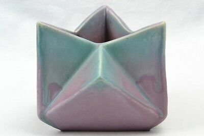 Muncie Pottery 1928 Green Drip Over Lilac Rombic Star Vase (Shape 312-5) 2A