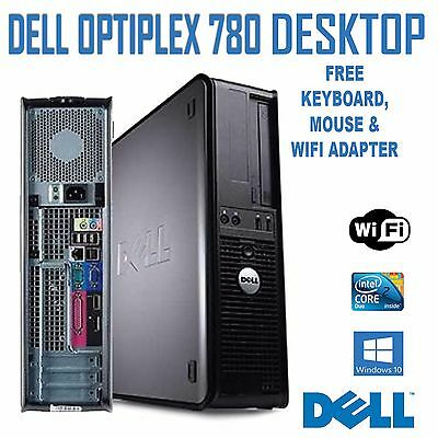 DELL OPTIPLEX 780 PC ~ INTEL CORE 2 DUO 3.0GHz ~ 250GB ~ 8GB ~ WINDOWS 7 ~ WiFi