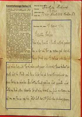 Jewish HOLOCAUST letter from DACHAU with Prisoners Number