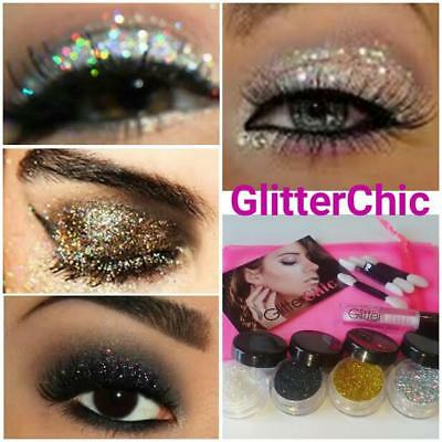 Glitter Eyes 4 Colours Set, loose glitter, Fix Gel and Applicators gift bag