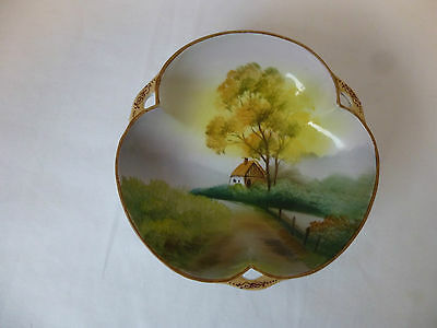 Antique,c1900,Morimura,Nippon,Hand Painted Country Scene,Bon Bon Bowl