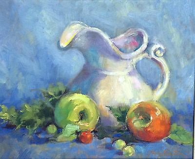 Vintage Still Life Painting Pitcher And Fruits
