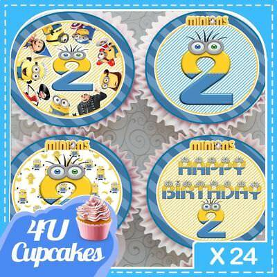 24 X Minions 2Nd Birthday Minions Edible Cupcake Toppers Rice Paper Ccdia035