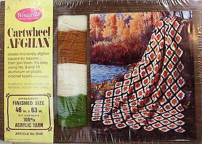 Vintage Wonderart Cartwheel Afghan Crochet Kit Acrylic Yarn Green Gold NEW