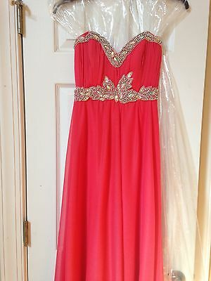 Nwt Dillards Sequin Hearts Long Coral Prom Dress Size 1 7499