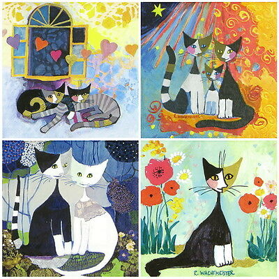 4x Paper Napkins for Decoupage Decopatch Craft Cat Mix R.W.