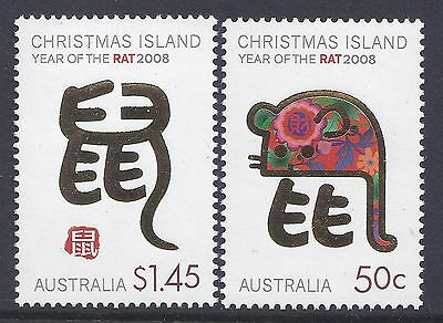 2008 Christmas Island Year Of The Rat Set Of 2 Fine Mint Mnh/muh