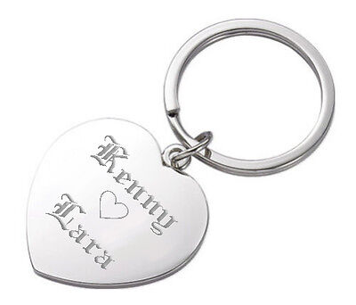 Personalized Large Silver Heart Keychain Custom Name Engraved Free Key Chain New