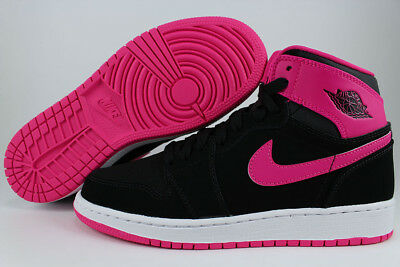 Nike Air Jordan 1 Retro High Hi Black/vivid Pink/white Women Girls Us Youth Size