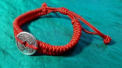 Bracelet Luck Protection Feng Shui Red Adjustable Fixed I-Ching Chinese Coin