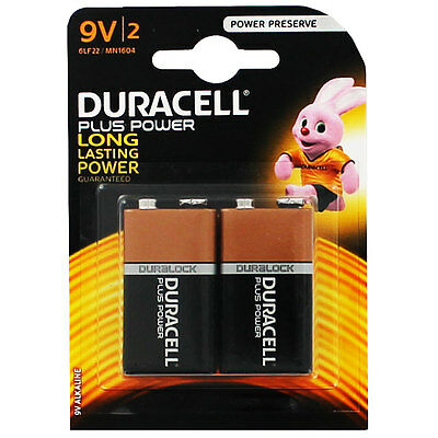 2 x Duracell Plus Power 9v Batteries PP3 MN1604 Duracell Smoke Alarm EXPIRY 2025