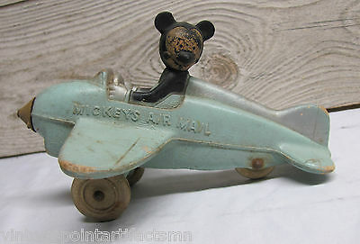 Vintage MICKEY'S AIR MAIL Sun Rubber Airplane Disney Mouse Toy Wheels Original