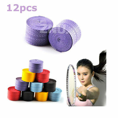 12pcs Anti-Slip Tennis Racket Cover Badminton Racket Squash Tape Grips Overgrips