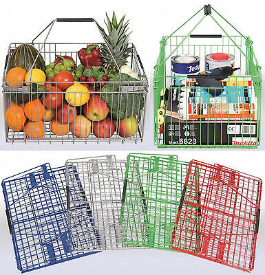 "Folding Metal Wire Basket Home Storage Car Boot Travel 4 Colours ""Silver"""