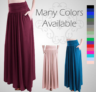 Rayon Spandex High Waist Shirring Maxi Skirt With Pockets