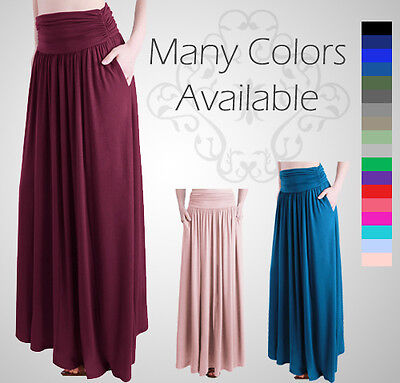 Women's Rayon Spandex High Waist Shirring Maxi Skirt With Pockets S-XXL Solid