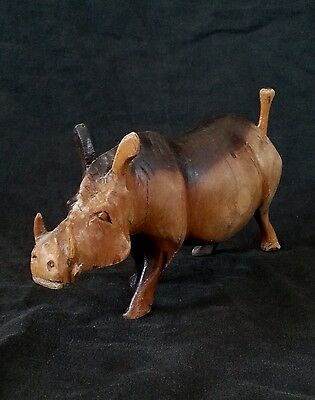 Vintage hand carved African wood warthog sculpture 7.5""