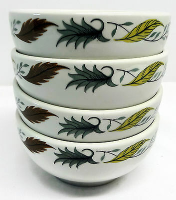 Duraline Grindley Hotelware England Set of 4 Chili Soup Bowls Leaf Vintage