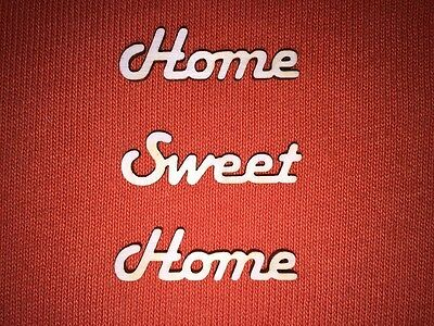 10 x HOME SWEET HOME small -WOODEN WORDS for PLAQUES TAGS SIGNS BOOK ART CRAFT