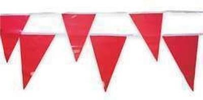 """Cortina 03-400-60 12"""" x 8"""" Red Vinyl Multipurpose Flags on 60ft String *New*"""