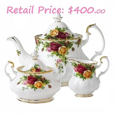 Royal Albert Old country Roses 3-Piece Tea Set England 1904 BRAND NEW