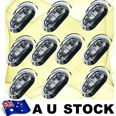 10X White Side Light LED Marker + Round Chrome base Trailer Clearance AU ship
