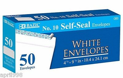 "BAZIC No. 10 (4 1/8"" x 9 1/2"") Peel & Self Seal White Envelope (50/Pack)  #574"