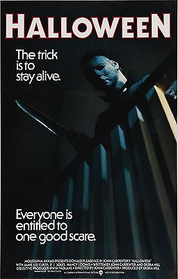 "HALLOWEEN (1978) Movie Poster Horror Michael Myers ""The Trick is to Stay Alive"""