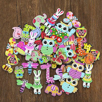 50Pcs Mixed Animal 2 Holes Wooden Buttons Sewing Craft Scrapbooking DIY Amazing